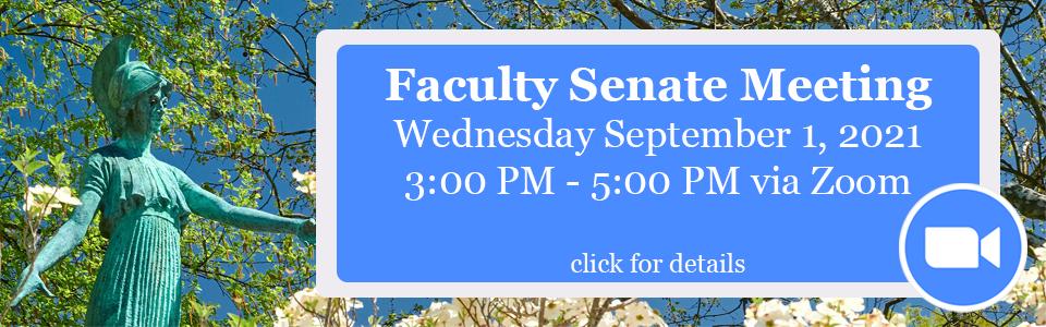 September 1 Faculty Senate Meeting Information