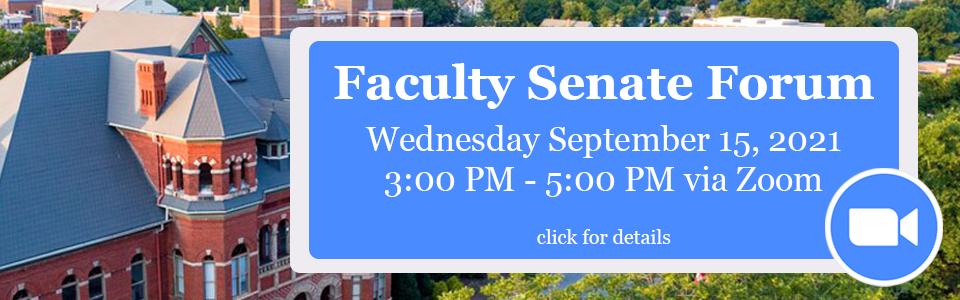 Faculty Senate Forum Sept. 15th